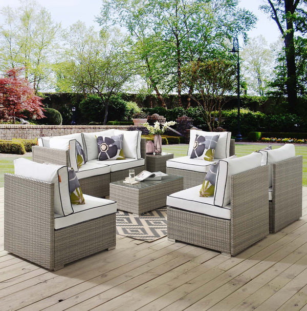 Repose 7 Piece Outdoor Patio Sectional Set - Light Gray White
