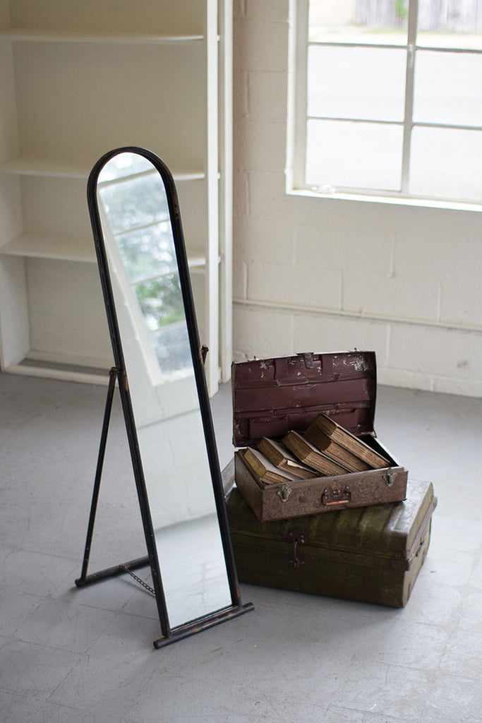 Floor Mirror with Metal Frame and Stand