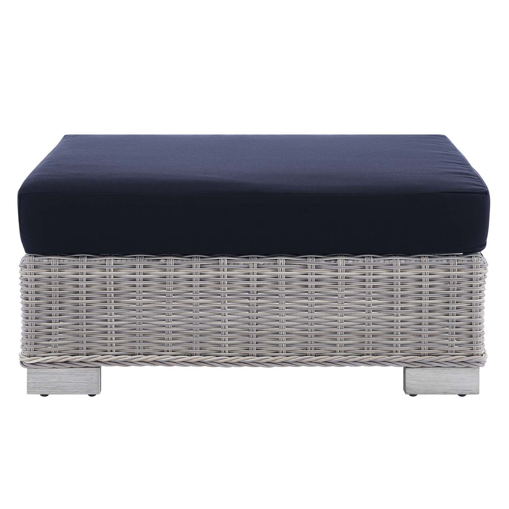 Conway Sunbrella® Outdoor Patio Wicker Rattan Ottoman - Light Gray Navy