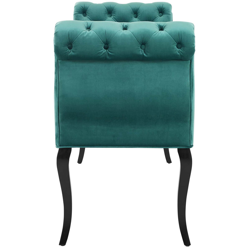 Adelia Chesterfield Style Button Tufted Performance Velvet Bench - Teal