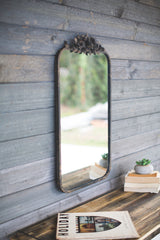 Rectangle Metal Mirror with Flower Details