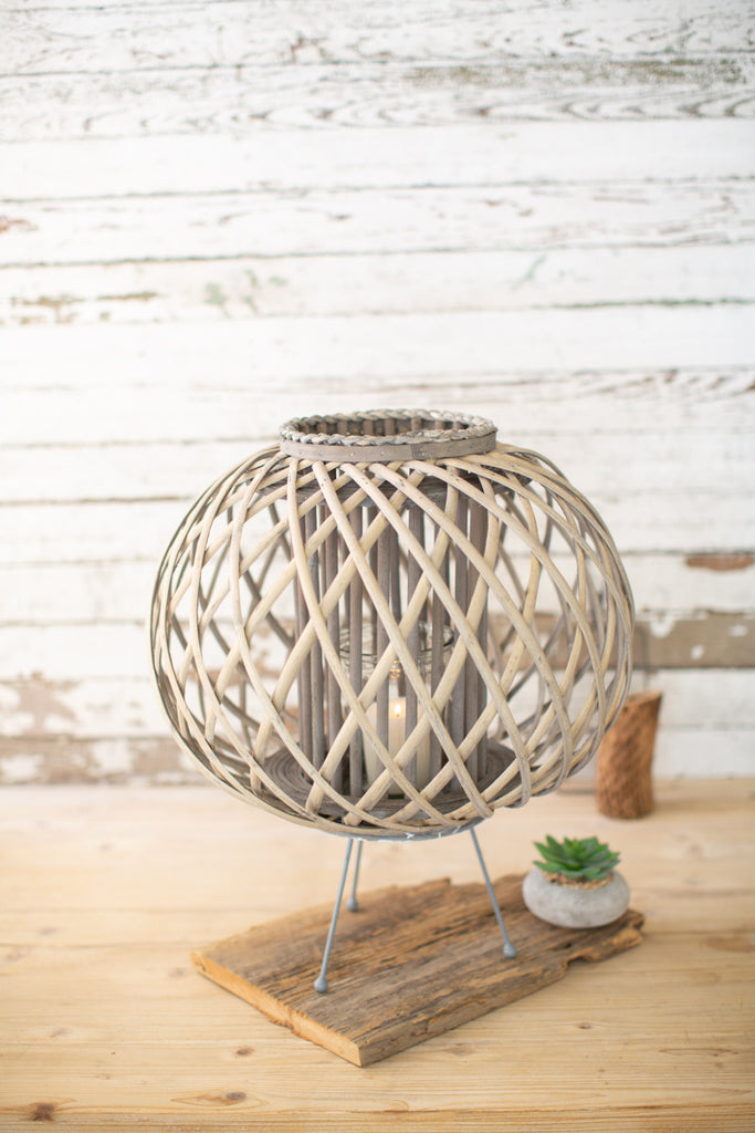 Large Grey Willow Lantern with Legs