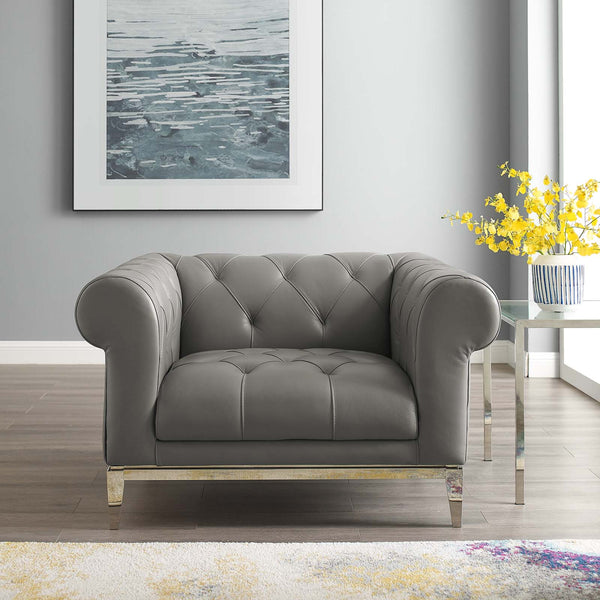 Idyll Tufted Button Upholstered Leather Chesterfield Armchair - Gray