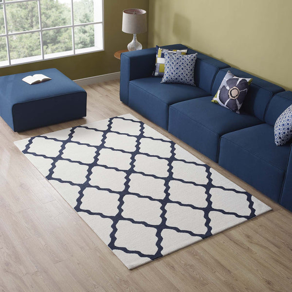 Marja Moroccan Trellis 5x8 Area Rug - Ivory and Navy