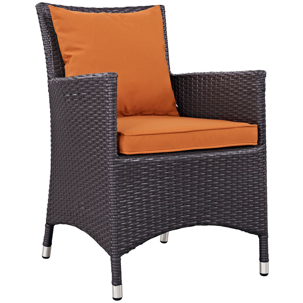 Convene 4 Piece Outdoor Patio Dining Set - Espresso Orange
