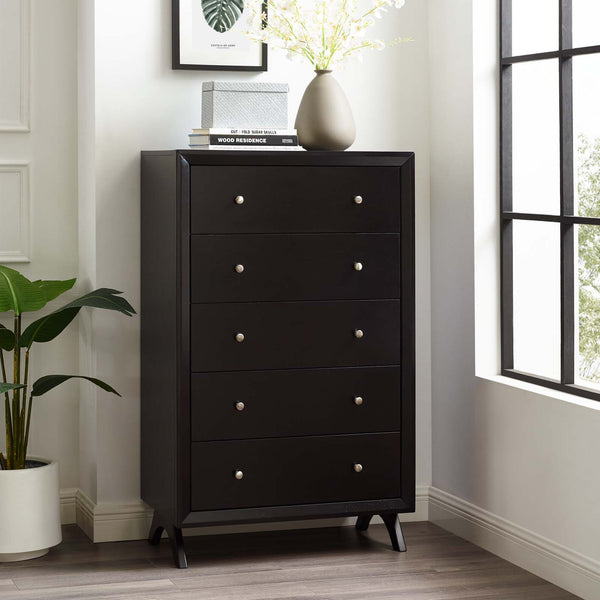 Providence Five-Drawer Chest or Stand - Cappuccino