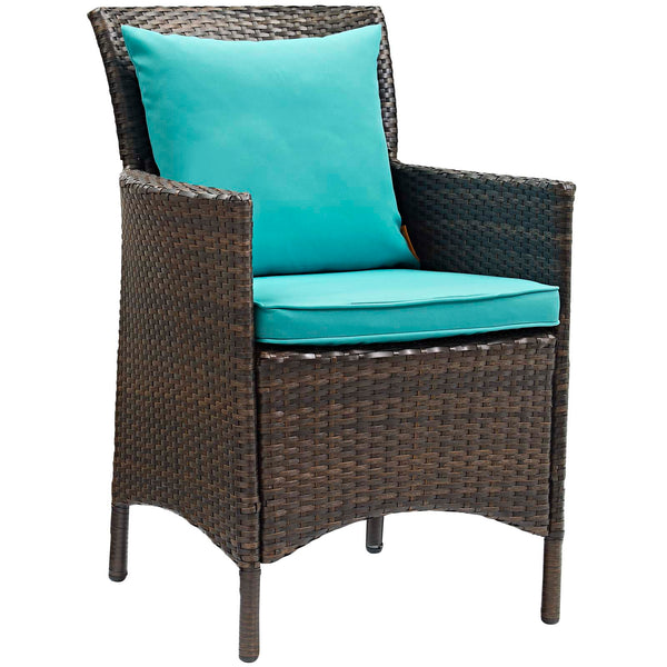 Conduit Outdoor Patio Wicker Rattan Dining Armchair Set of 4 - Brown Turquoise