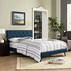 Tarah King Fabric Platform Bed with Round Splayed Legs - Azure