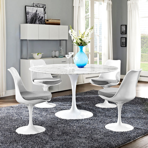 "Lippa 54"""" Artificial Marble Dining Table in White"