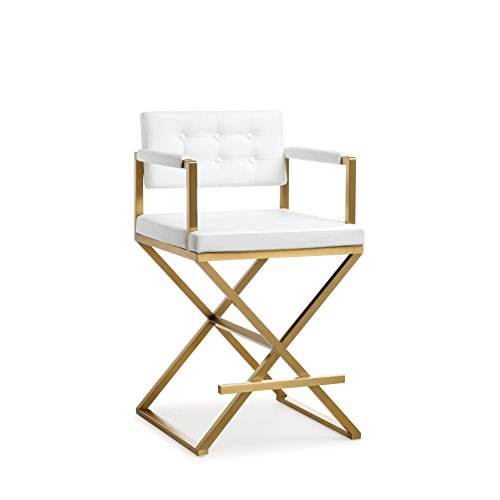 Director White Gold Steel Counter Stool