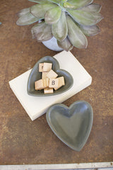 Carved Stone Heart Bowl - Dark Grey