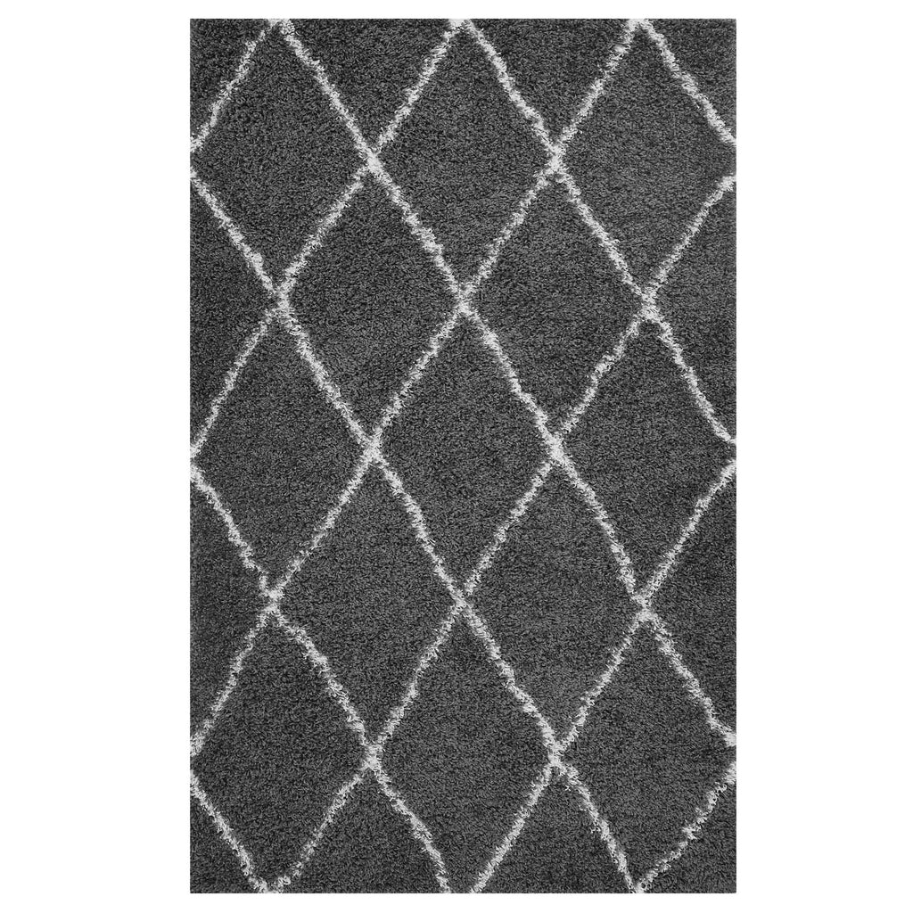Toryn Diamond Lattice 8x10 Shag Area Rug - Dark Gray and Ivory