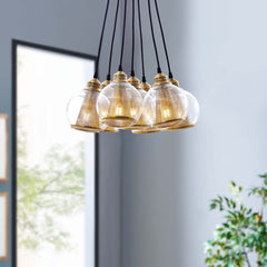 Peak Brass Cone and Glass Globe Cluster Pendant Chandelier