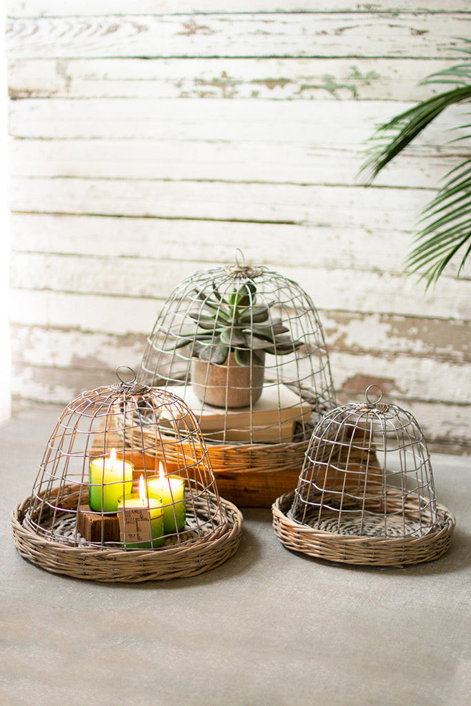 Set of Three Wire Cloches with Wicker Bases