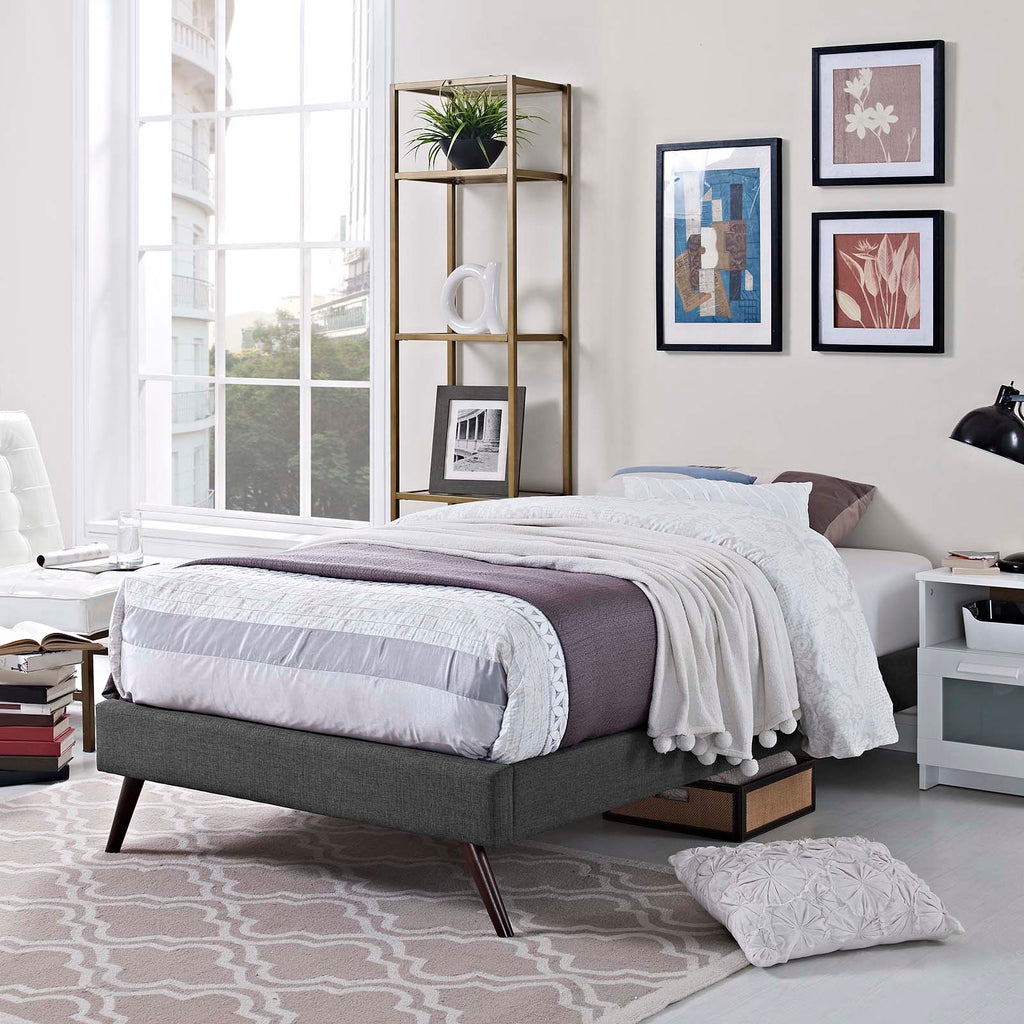Loryn Twin Fabric Bed Frame with Round Splayed Legs - Gray
