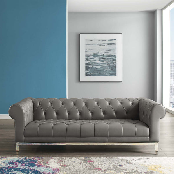 Idyll Tufted Button Upholstered Leather Chesterfield Sofa - Gray