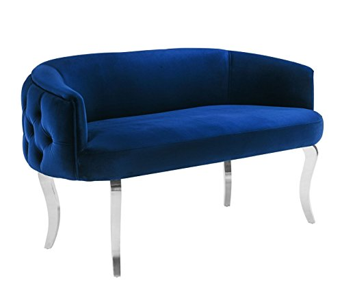 Adina Navy Velvet Loveseat with Silver Legs