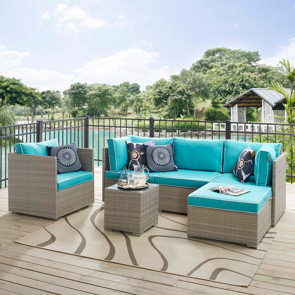 Repose 6 Piece Outdoor Patio Sectional Set - Light Gray Turquoise