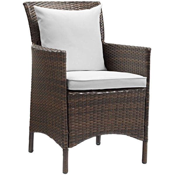 Conduit Outdoor Patio Wicker Rattan Dining Armchair Set of 2 - Brown White