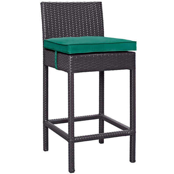 Convene Outdoor Patio Fabric Bar Stool - Espresso Green