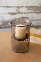 Mini Smoked Glass Candle Cylinders with Rustic Insert - Small