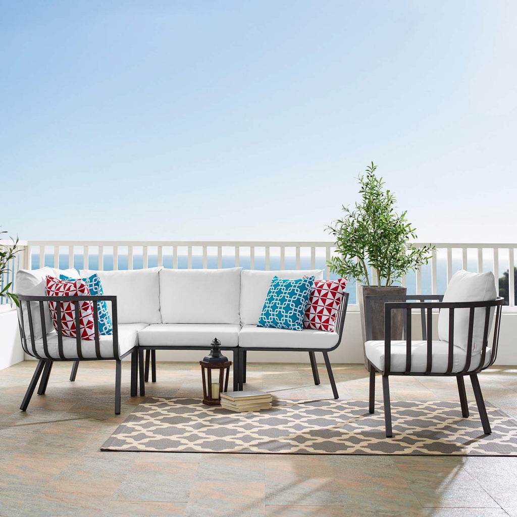 Riverside 5 Piece Outdoor Patio Aluminum Set - Gray White