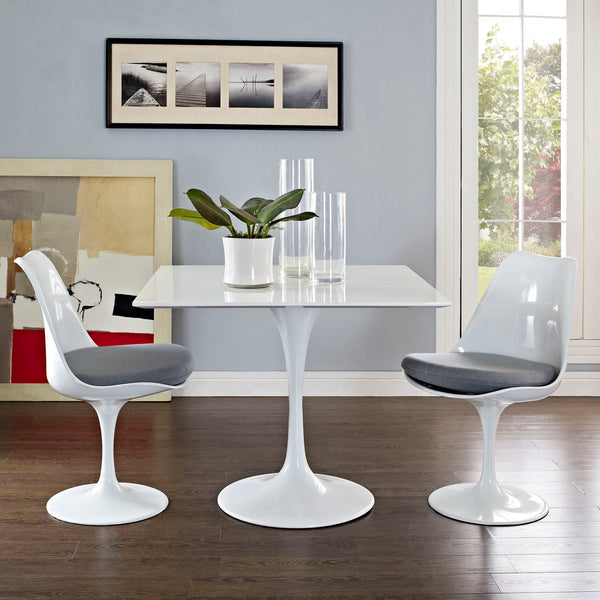 "Lippa 36"""" Square Wood Top Dining Table in White"