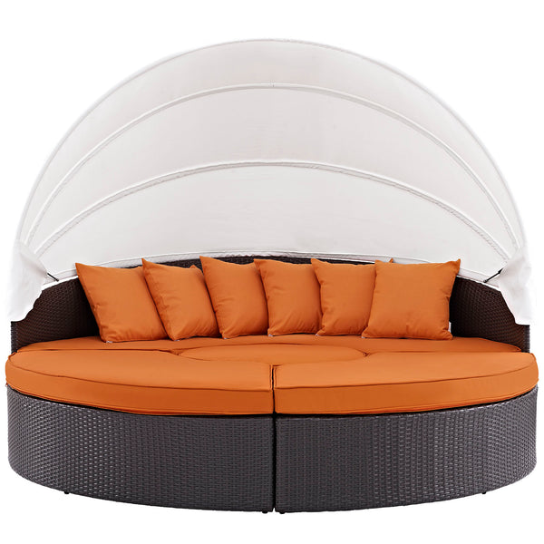 Quest Canopy Outdoor Patio Daybed - Espresso Orange