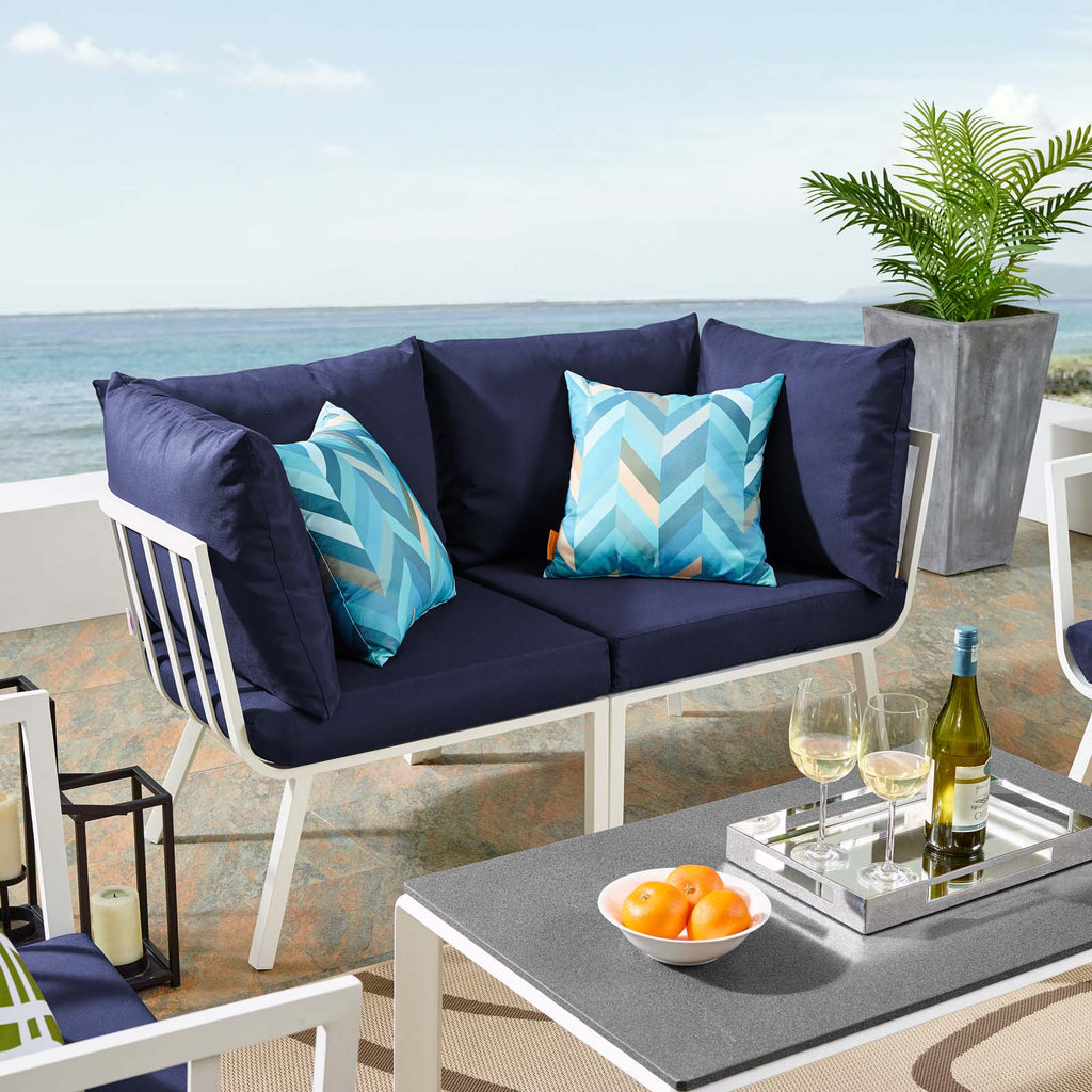 Riverside 2 Piece Outdoor Patio Aluminum Sectional Sofa Set - White Navy