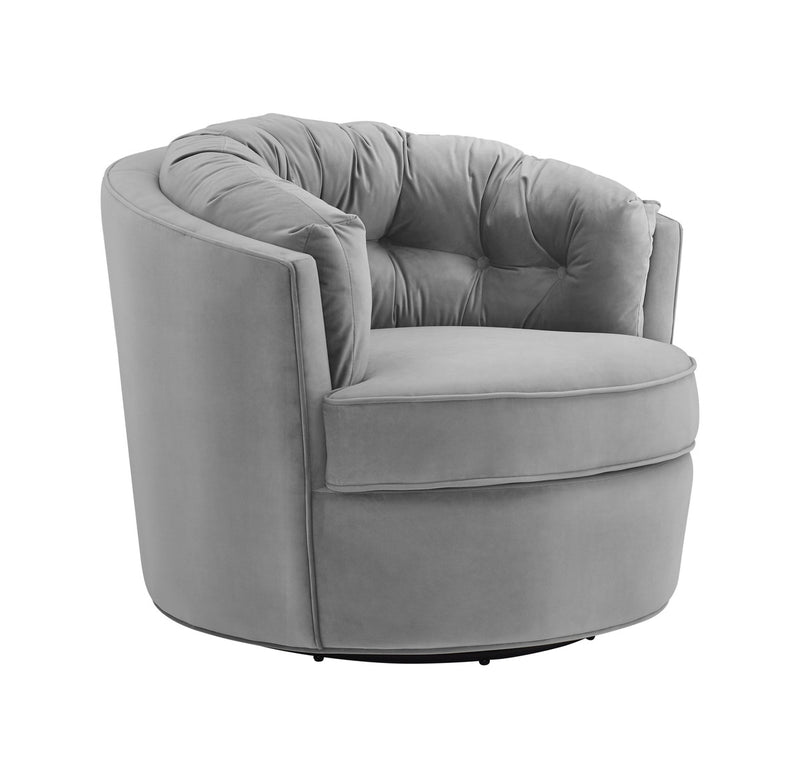 Eloise Grey Velvet Swivel Accent Chair