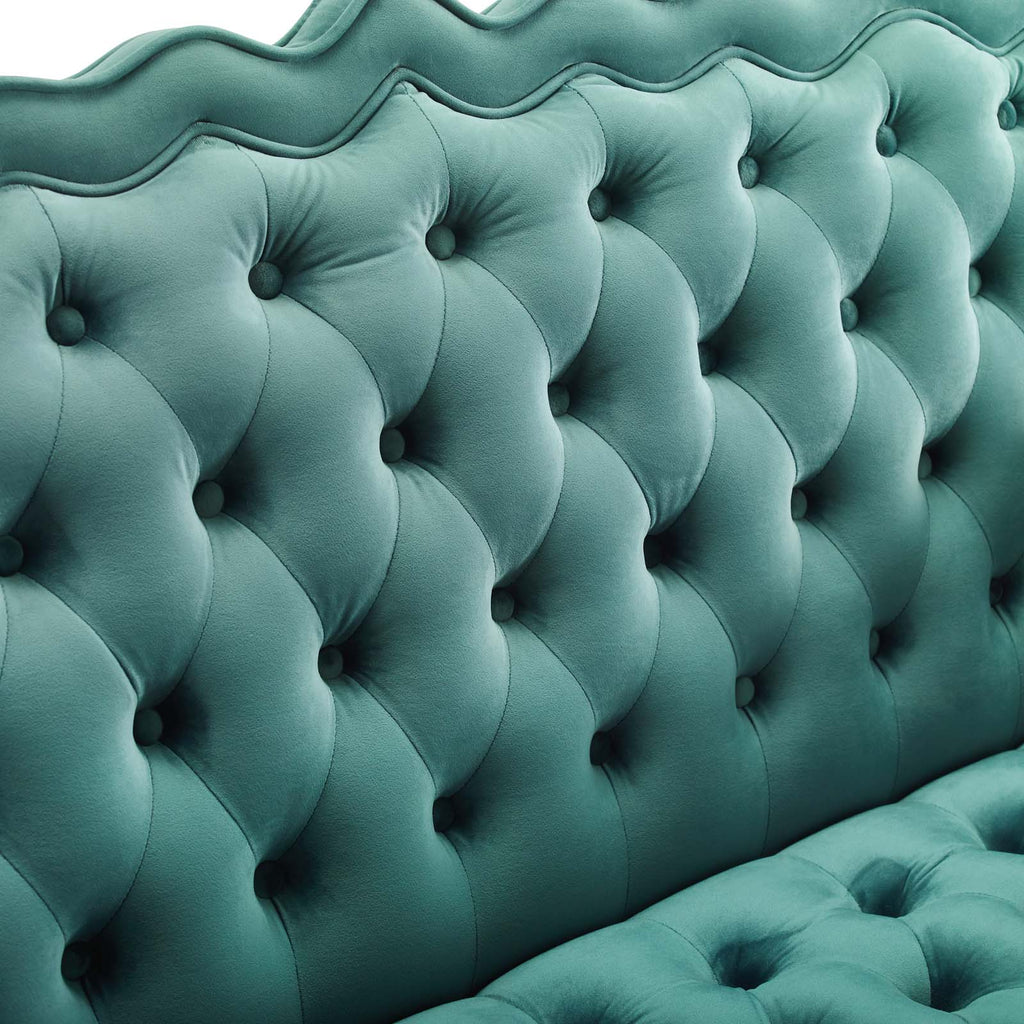 Viola Chesterfield Button Tufted Loveseat Performance Velvet Settee - Teal