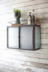 Double Door Metal and Corrugated Glass Wall Cabinet