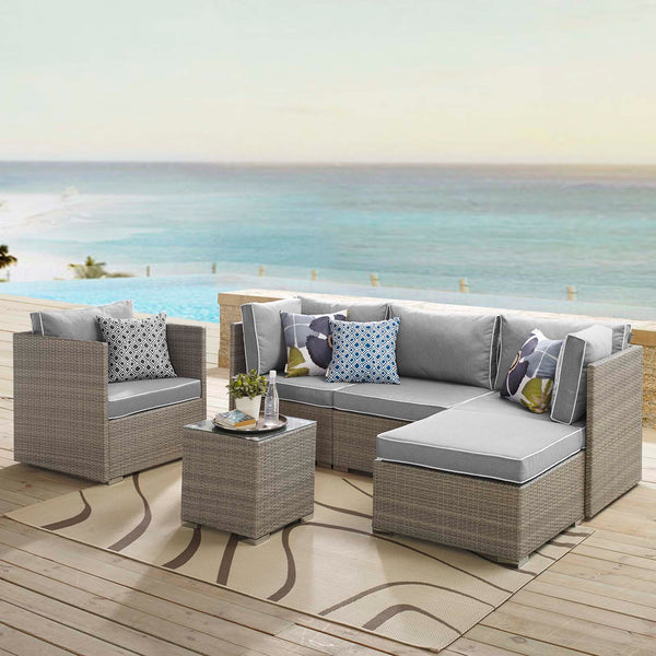 Repose 6 Piece Outdoor Patio Sectional Set - Light Gray Gray