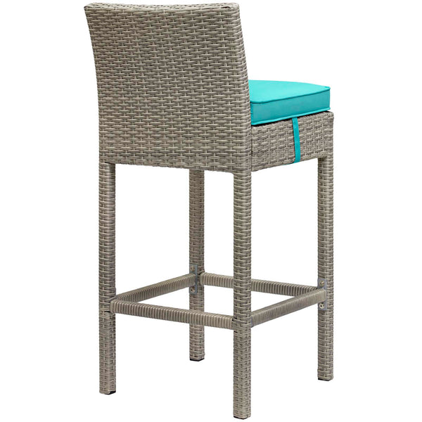 Conduit Bar Stool Outdoor Patio Wicker Rattan Set of 2 - Light Gray Turquoise