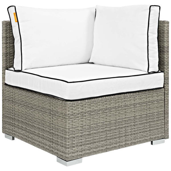 Repose 8 Piece Outdoor Patio Sectional Set - Light Gray White