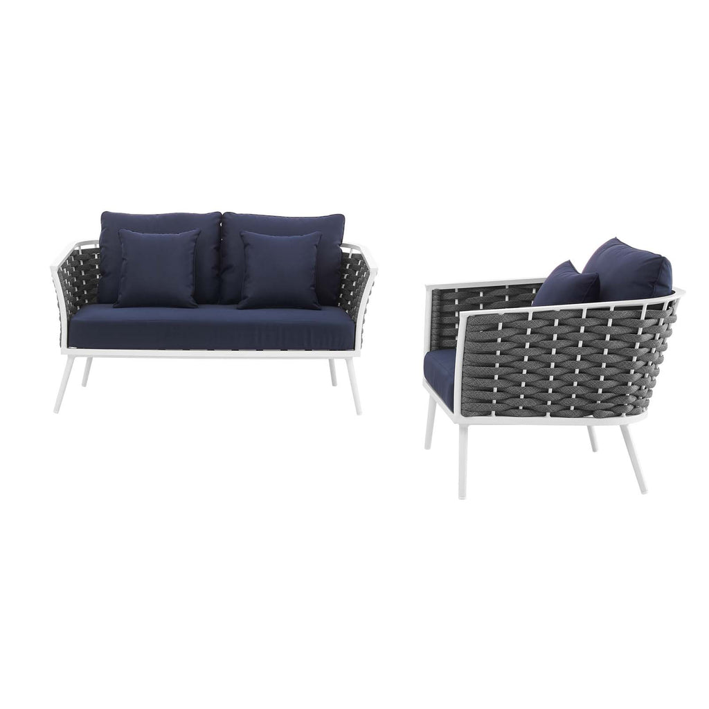 Stance 2 Piece Outdoor Patio Aluminum Sectional Sofa Set - White Navy