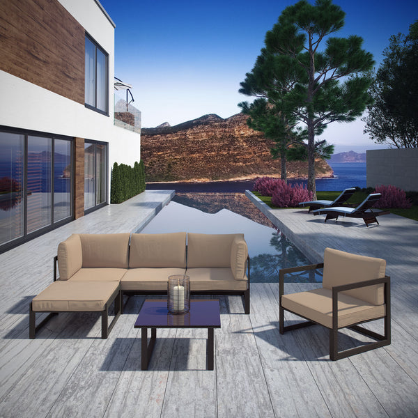Fortuna 6 Piece Outdoor Patio Sectional Sofa Set - Brown Mocha