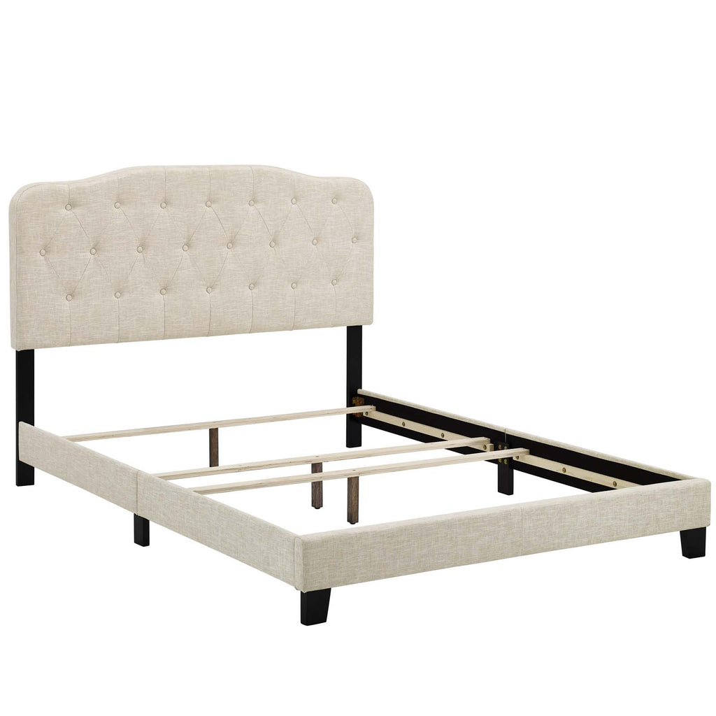 Amelia Twin Upholstered Fabric Bed - Beige