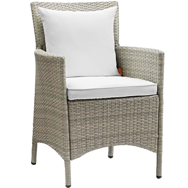 Conduit Outdoor Patio Wicker Rattan Dining Armchair Set of 4 - Light Gray White