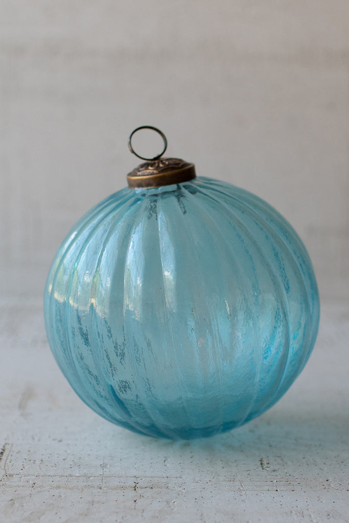 Glass Christmas Ornament - Blue Ribbed