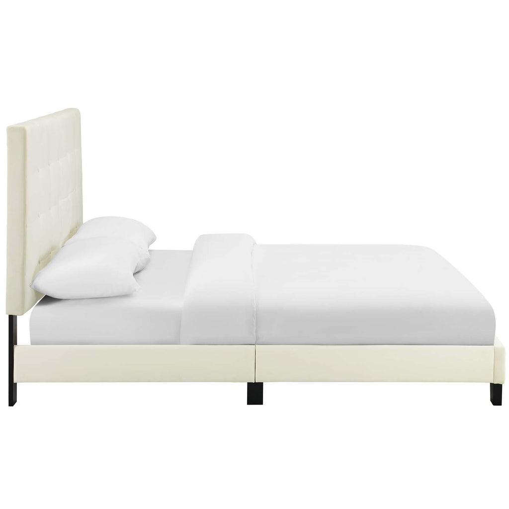 Melanie Twin Tufted Button Upholstered Performance Velvet Platform Bed - Ivory