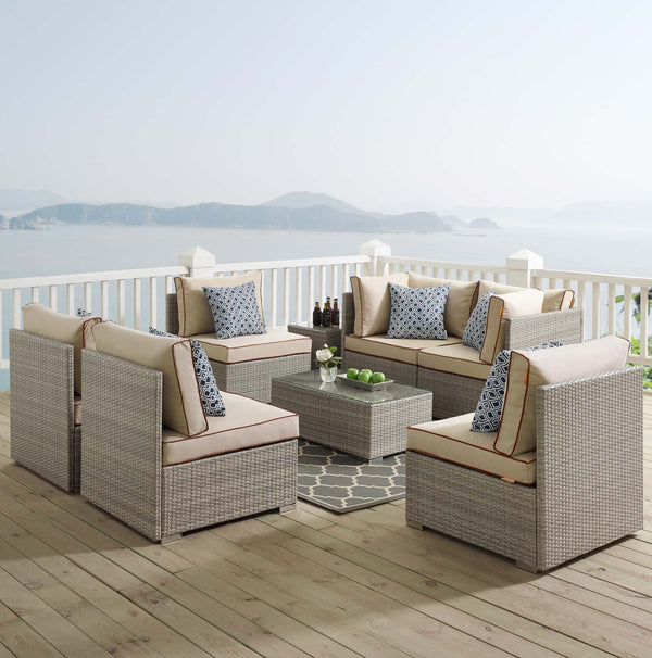 Repose 7 Piece Outdoor Patio Sectional Set - Light Gray Beige