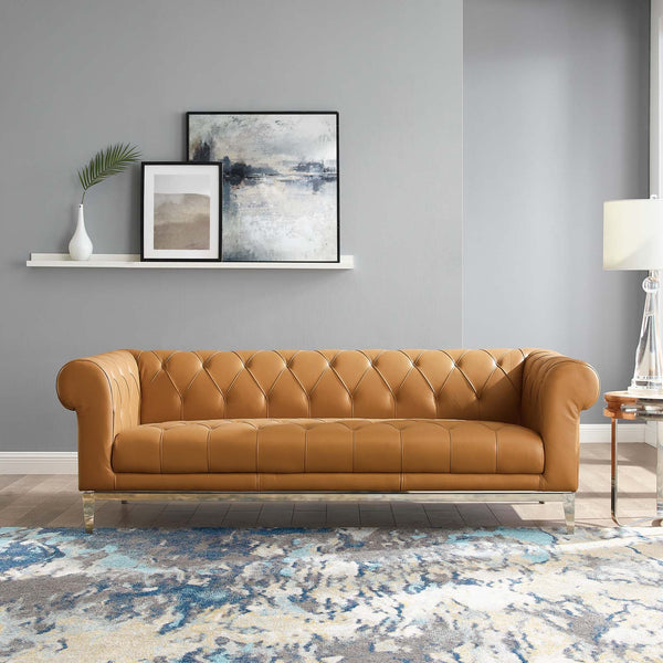 Idyll Tufted Button Upholstered Leather Chesterfield Sofa - Tan