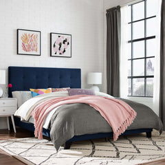 Melanie Full Tufted Button Upholstered Performance Velvet Platform Bed - Midnight Blue