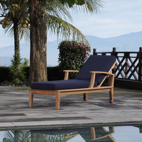 Marina Outdoor Patio Teak Single Chaise - Natural Navy