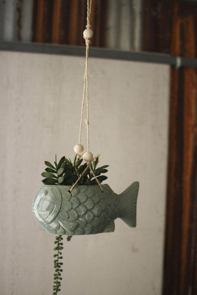 Hanging Ceramic Fish Planter - Blue