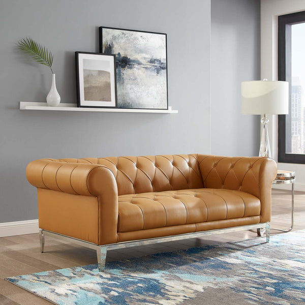 Idyll Tufted Button Upholstered Leather Chesterfield Loveseat - Tan