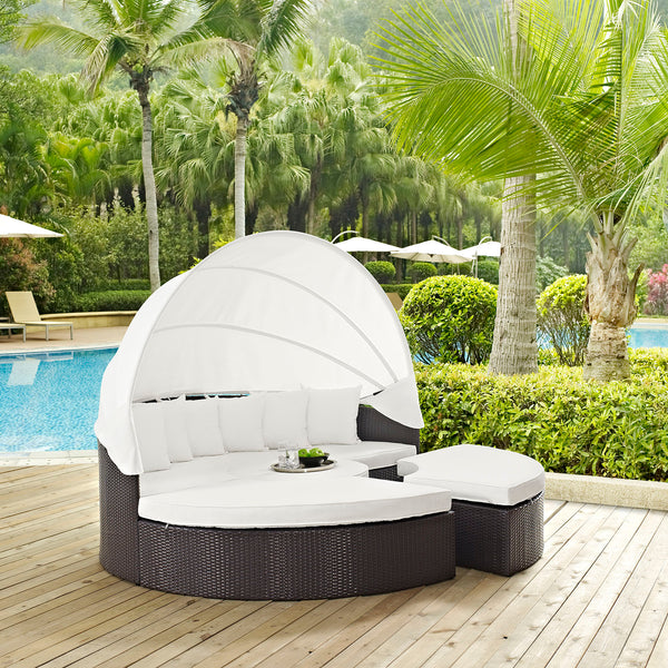 Quest Canopy Outdoor Patio Daybed - Espresso White