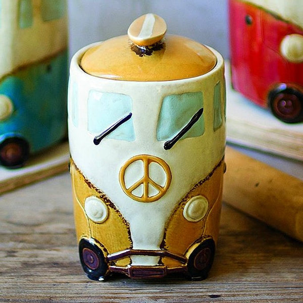 Ceramic Van Canisters with Surfboard Handles, One Size, Multicolored