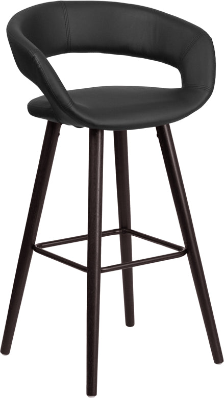 Brynn Series 29'' High Contemporary Cappuccino Wood Barstool in Black Vinyl